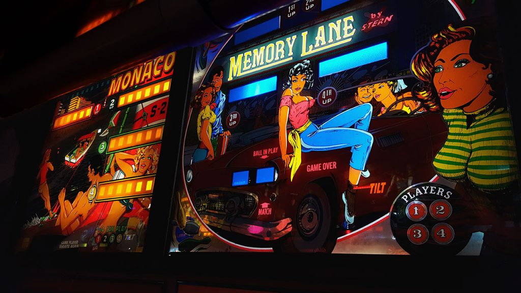 Memory Lane by Stern and Monaco pinball backglasses.