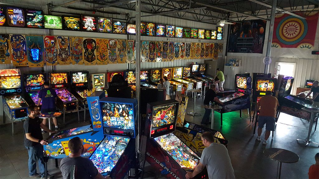 District 82 Pinball overhead shot of inside of facility during a test open event.