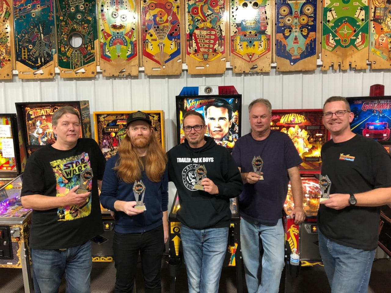 October 2019 Pinball League Top 5 players in Green Bay, WI