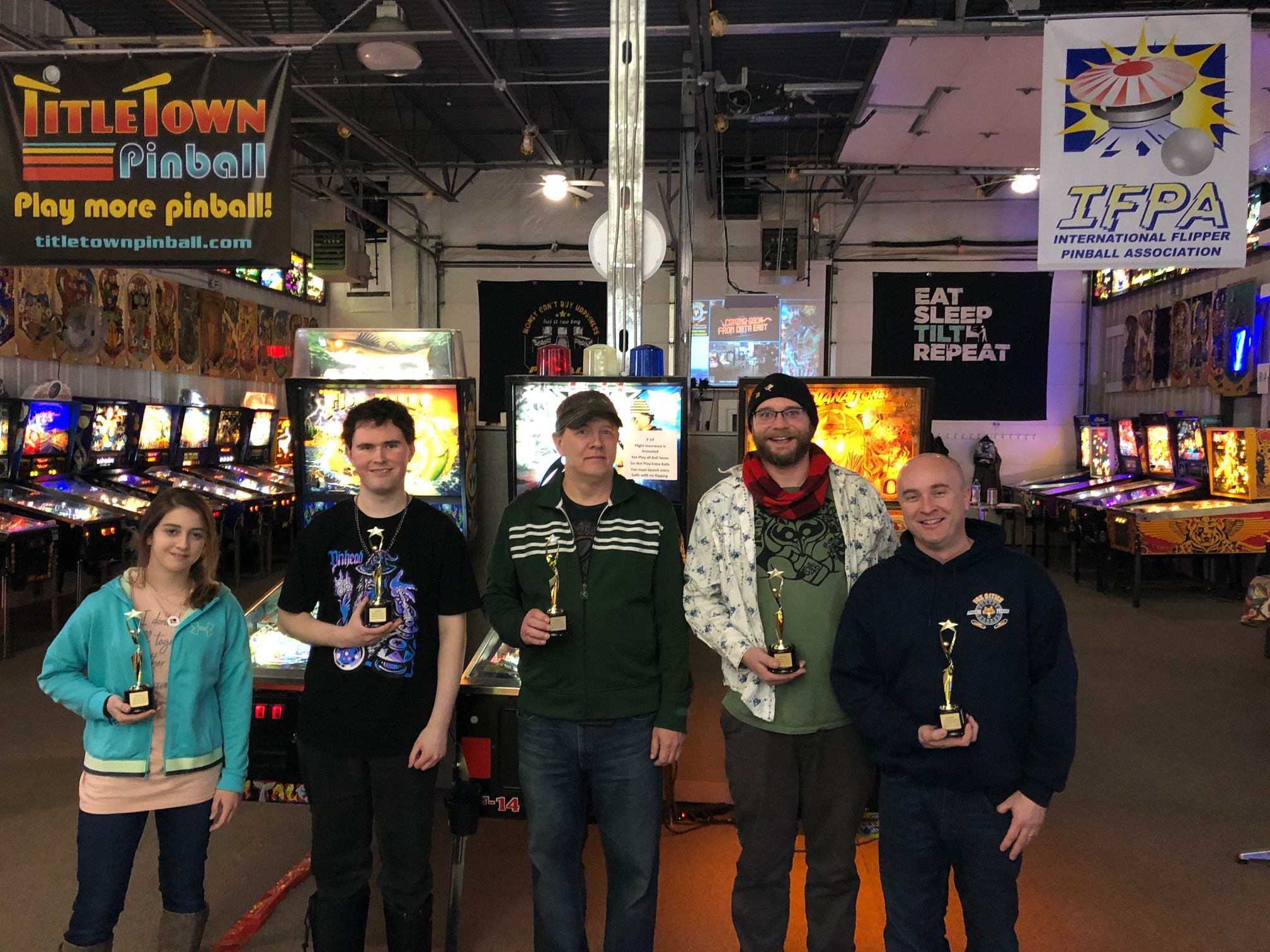 New Years Launch Party Pinball Tournament Winners Green Bay, WI