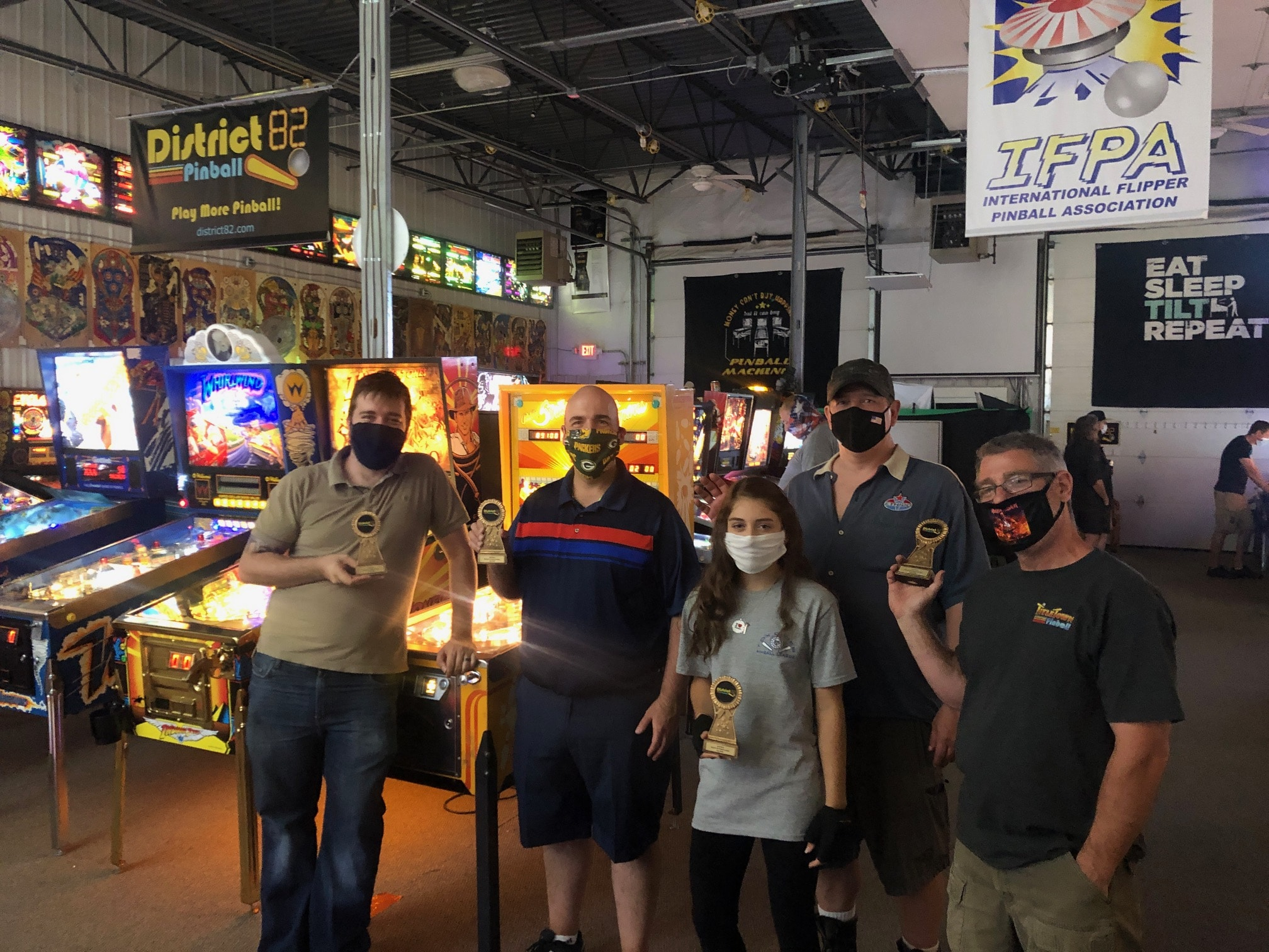 July 2020 Pinball League top 5 players Green Bay, WI